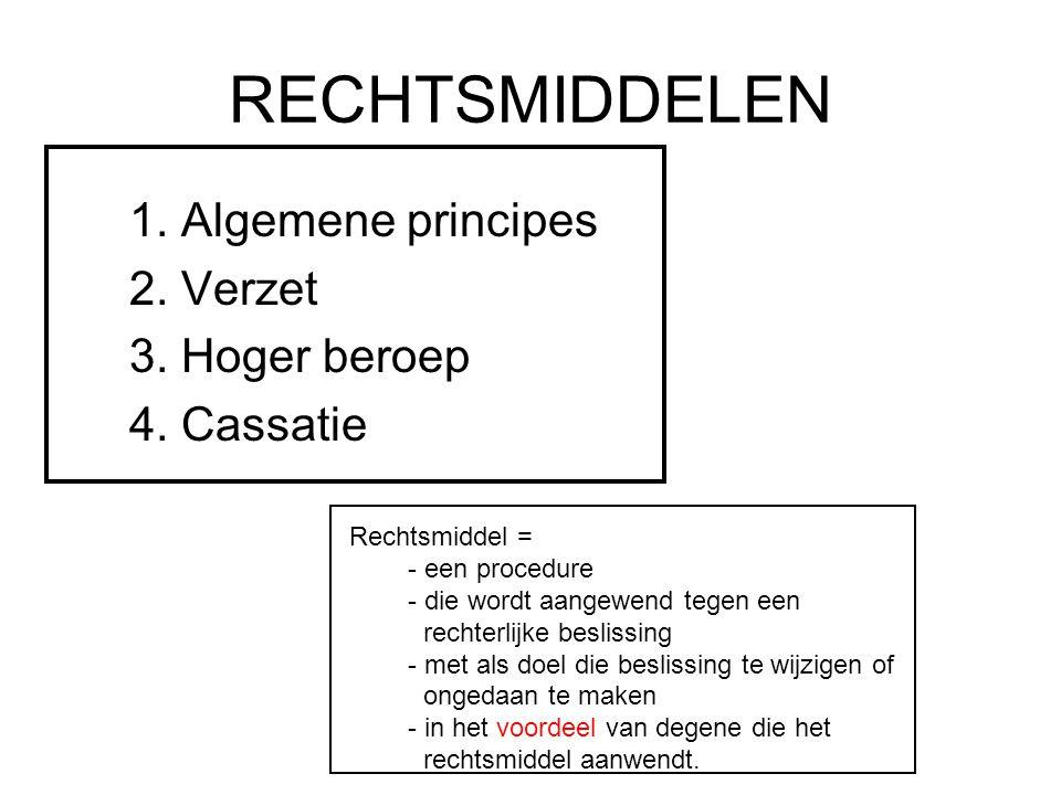 RECHTSMIDDELEN 1. Algemene principes 2. Verzet 3. Hoger beroep