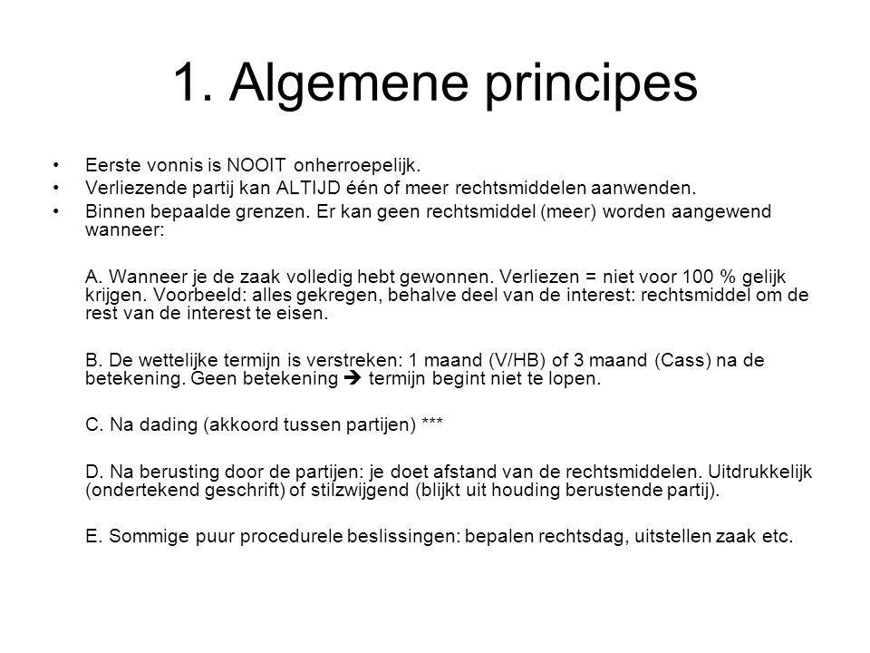 1. Algemene principes Eerste vonnis is NOOIT onherroepelijk.