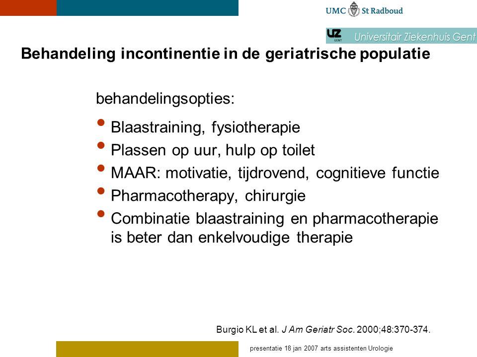 Behandeling incontinentie in de geriatrische populatie