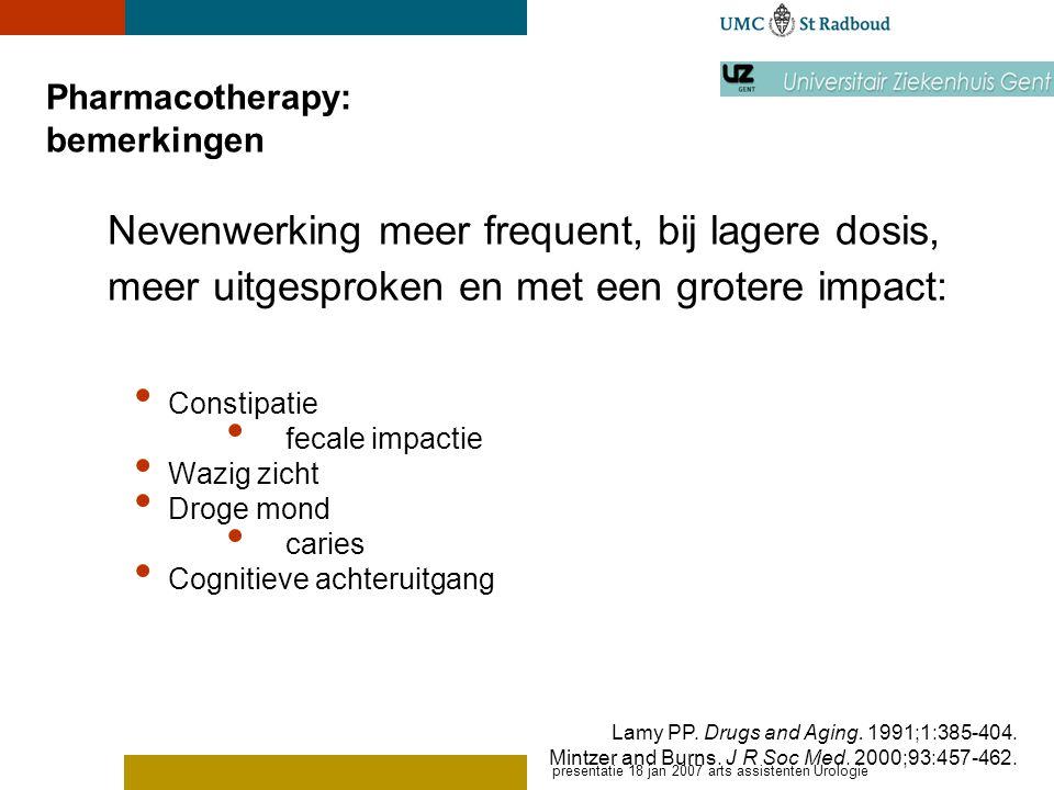 Pharmacotherapy: bemerkingen