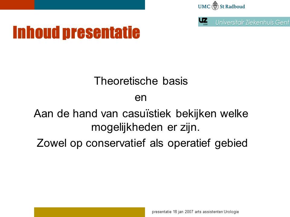 Inhoud presentatie Theoretische basis en