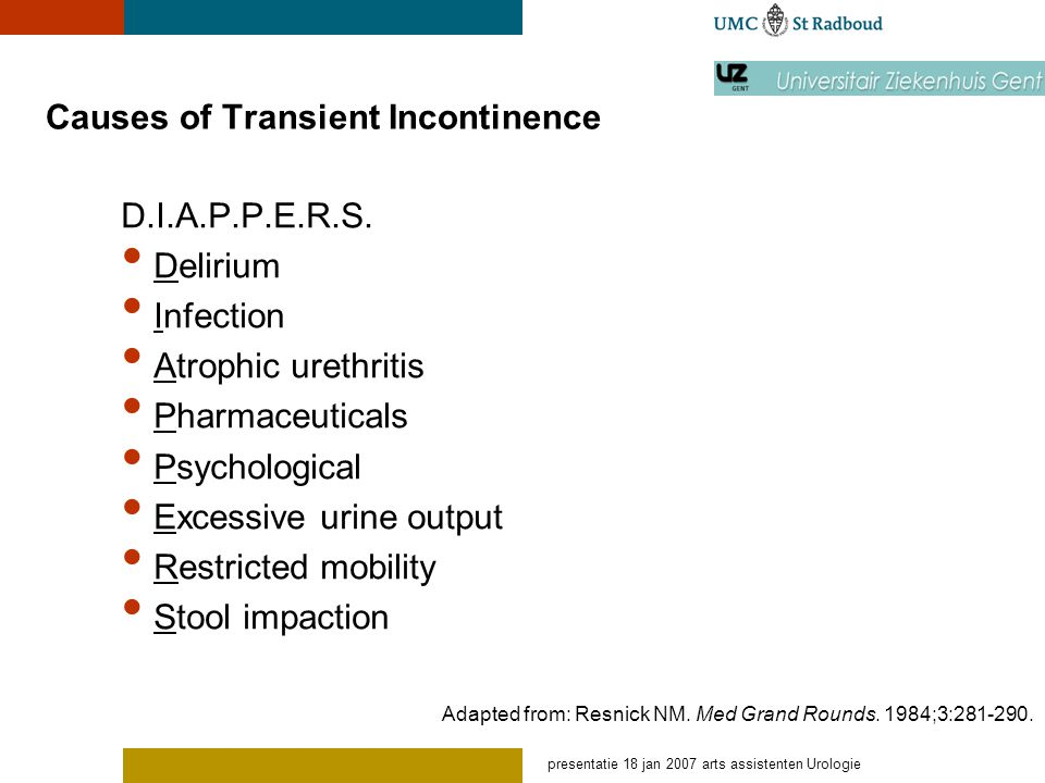 Causes of Transient Incontinence