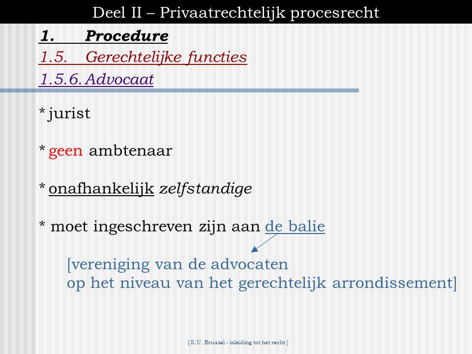 Deel II – Privaatrechtelijk procesrecht 1. Procedure