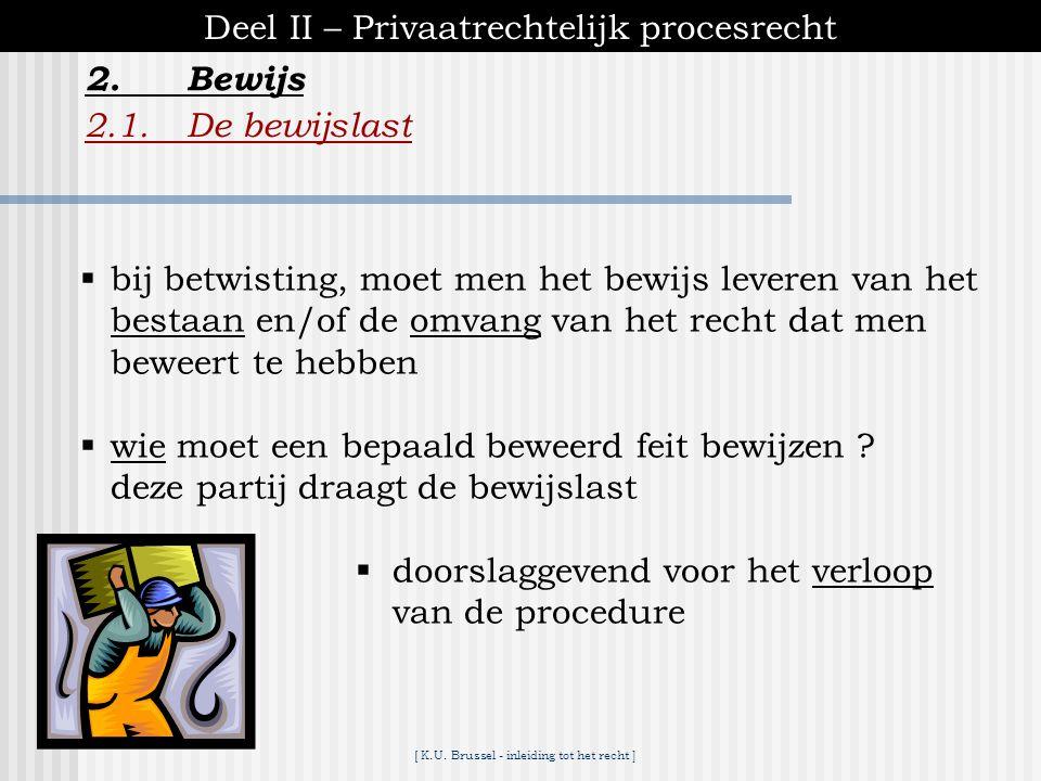 Deel II – Privaatrechtelijk procesrecht 2. Bewijs 2.1. De bewijslast