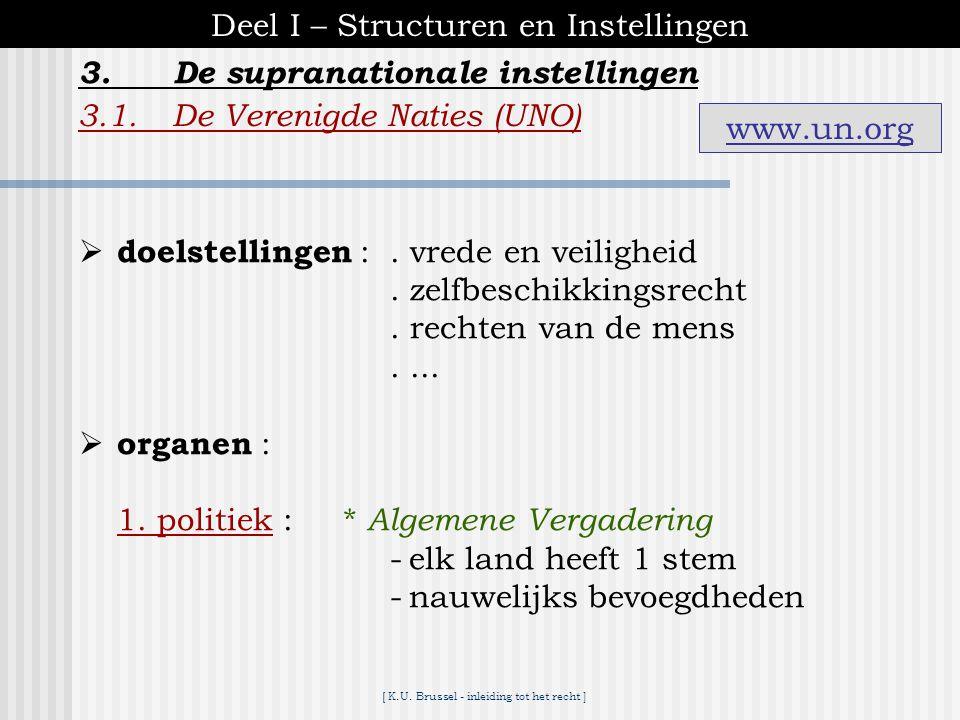 Deel I – Structuren en Instellingen 3. De supranationale instellingen