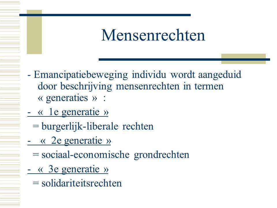 Mensenrechten - Emancipatiebeweging individu wordt aangeduid door beschrijving mensenrechten in termen « generaties » :