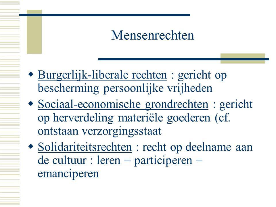 Mensenrechten Burgerlijk-liberale rechten : gericht op bescherming persoonlijke vrijheden.