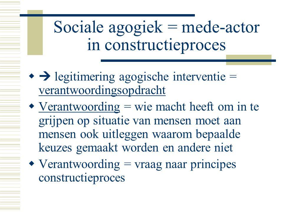 Sociale agogiek = mede-actor in constructieproces