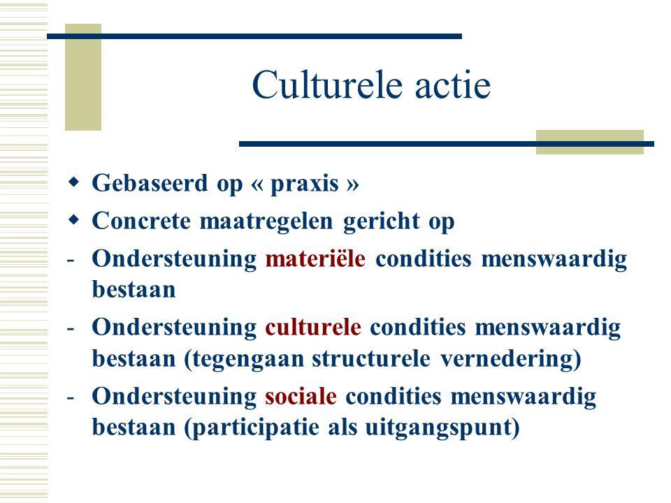 Culturele actie Gebaseerd op « praxis »