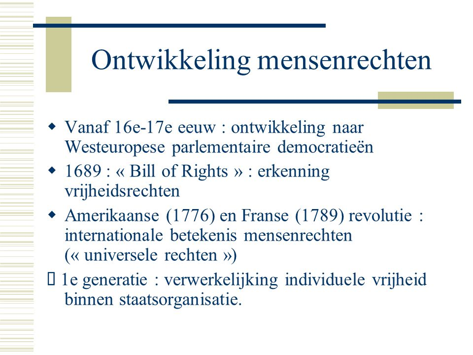 Ontwikkeling mensenrechten