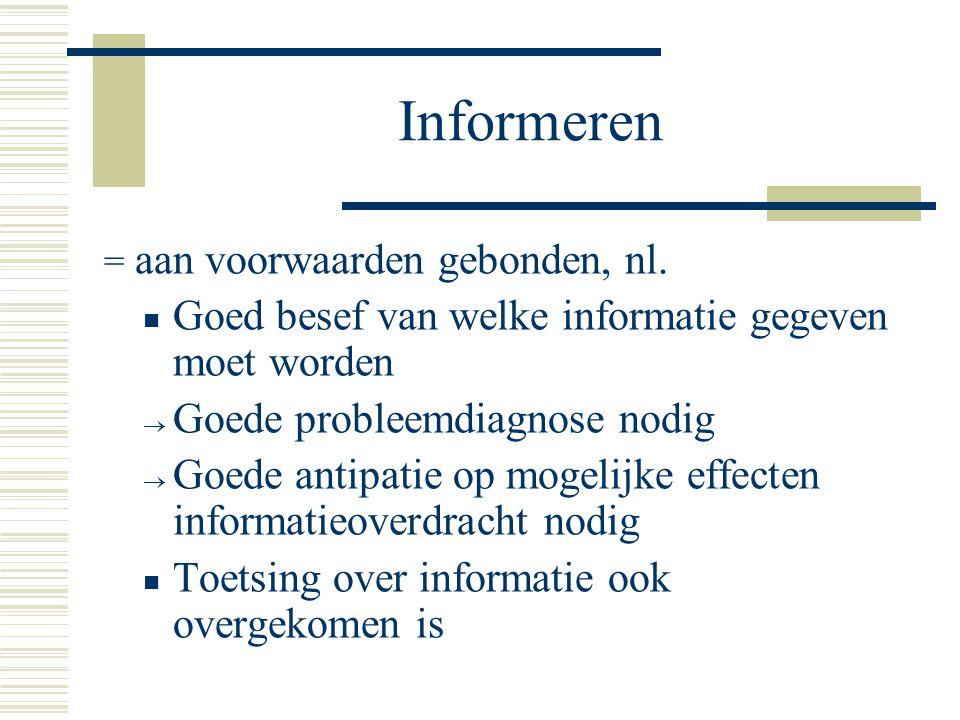 Informeren Goed besef van welke informatie gegeven moet worden
