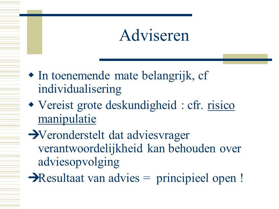 Adviseren In toenemende mate belangrijk, cf individualisering