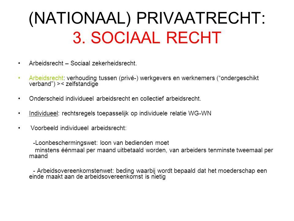 (NATIONAAL) PRIVAATRECHT: 3. SOCIAAL RECHT