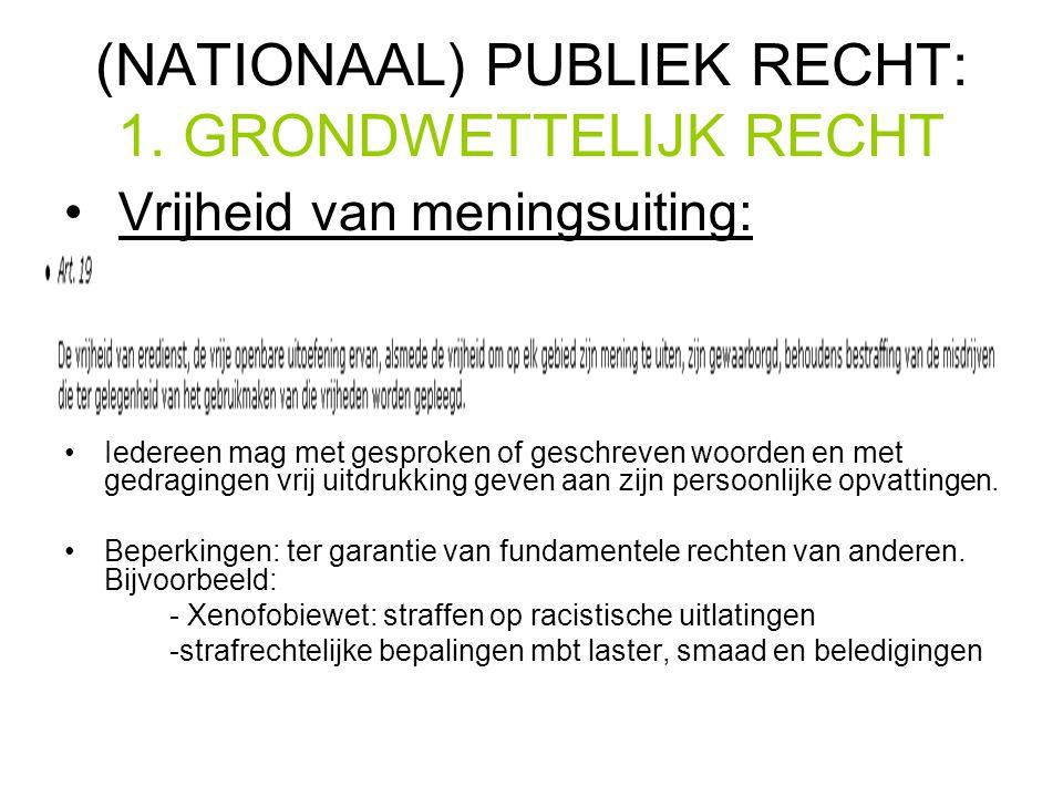 (NATIONAAL) PUBLIEK RECHT: 1. GRONDWETTELIJK RECHT