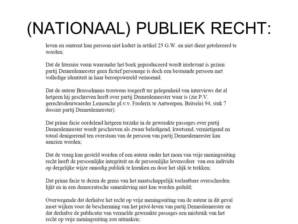 (NATIONAAL) PUBLIEK RECHT: