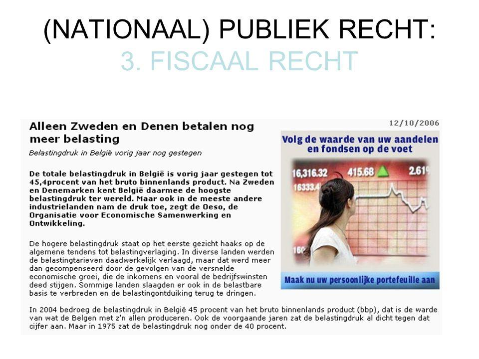 (NATIONAAL) PUBLIEK RECHT: 3. FISCAAL RECHT