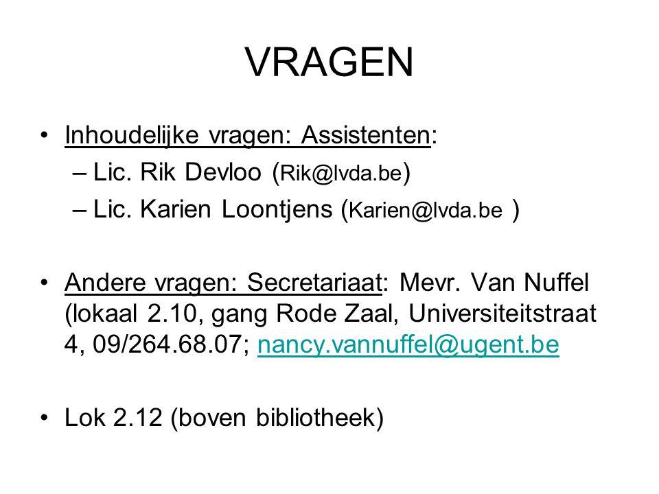 VRAGEN Inhoudelijke vragen: Assistenten: Lic. Rik Devloo (Rik@lvda.be)