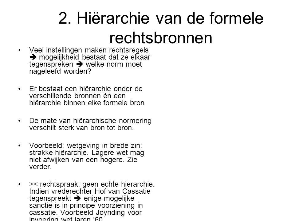 2. Hiërarchie van de formele rechtsbronnen
