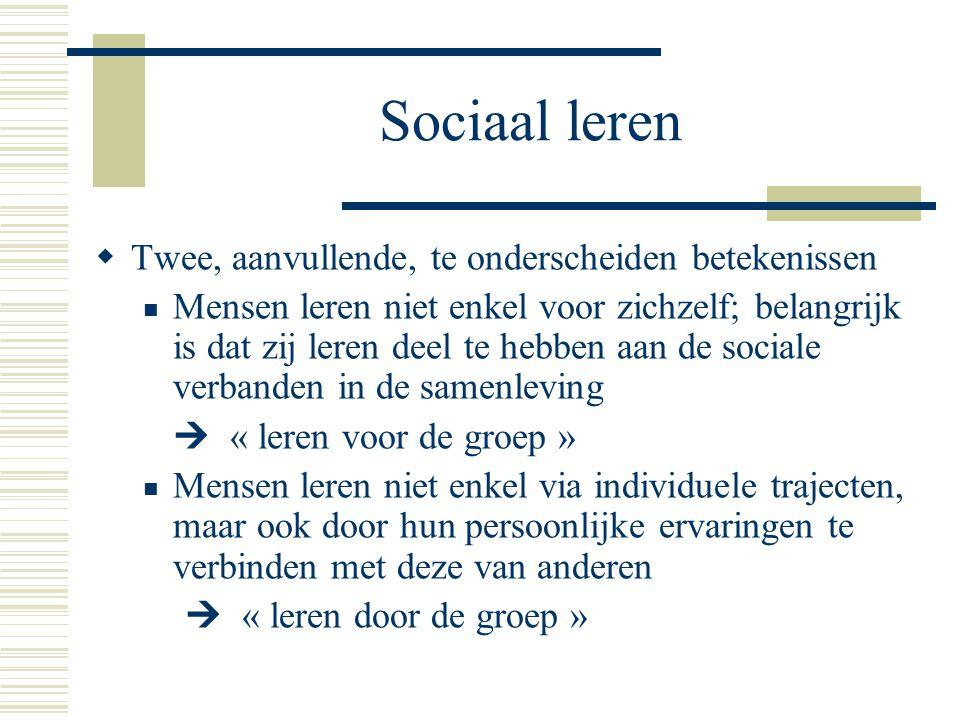 Sociaal leren Twee, aanvullende, te onderscheiden betekenissen