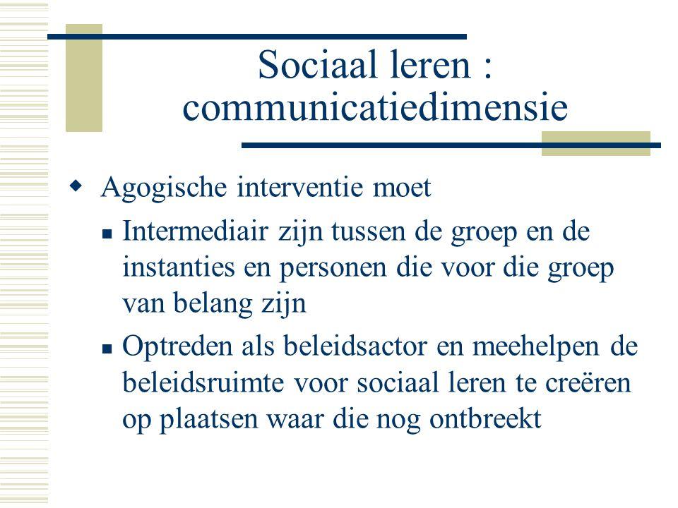 Sociaal leren : communicatiedimensie