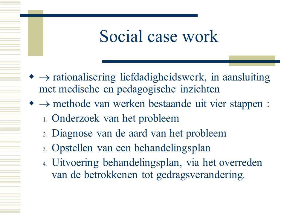 Social case work  rationalisering liefdadigheidswerk, in aansluiting met medische en pedagogische inzichten.