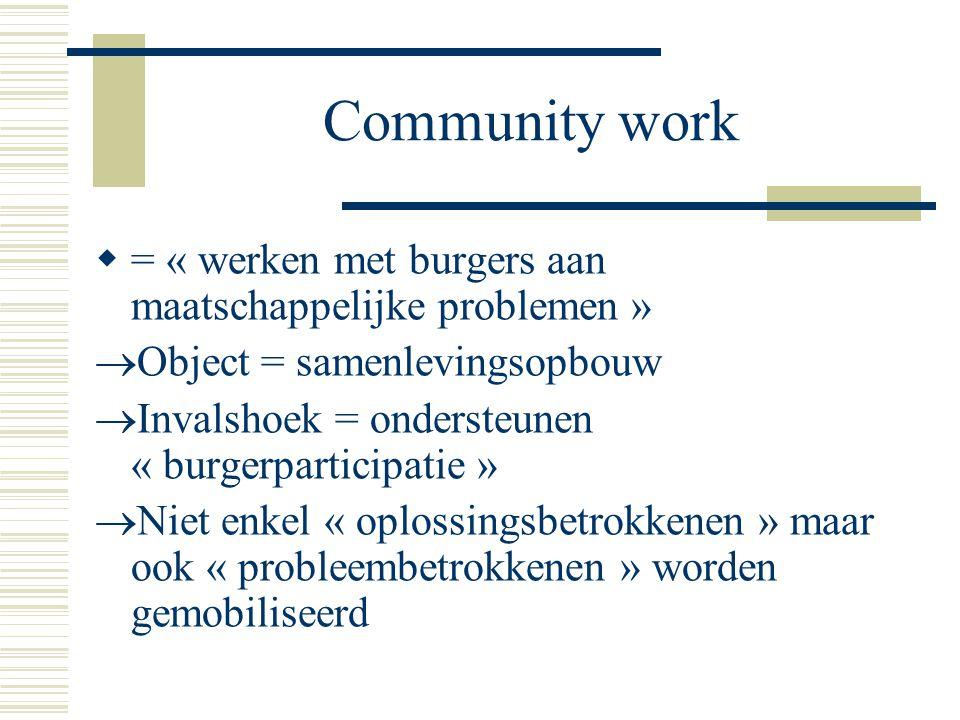 Community work = « werken met burgers aan maatschappelijke problemen »