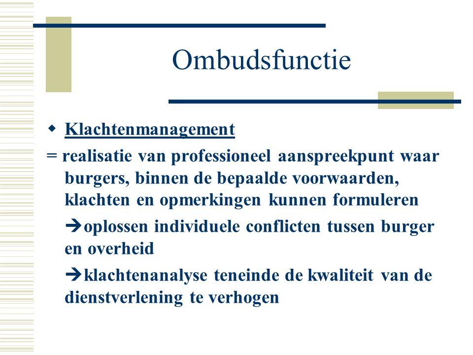 Ombudsfunctie Klachtenmanagement