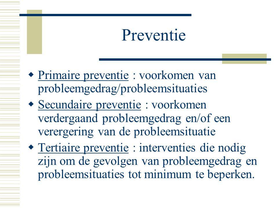 Preventie Primaire preventie : voorkomen van probleemgedrag/probleemsituaties.