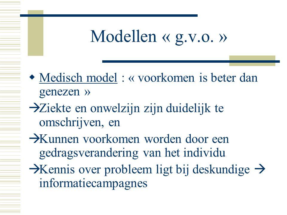 Modellen « g.v.o. » Medisch model : « voorkomen is beter dan genezen »