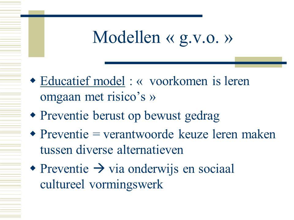 Modellen « g.v.o. » Educatief model : « voorkomen is leren omgaan met risico's » Preventie berust op bewust gedrag.