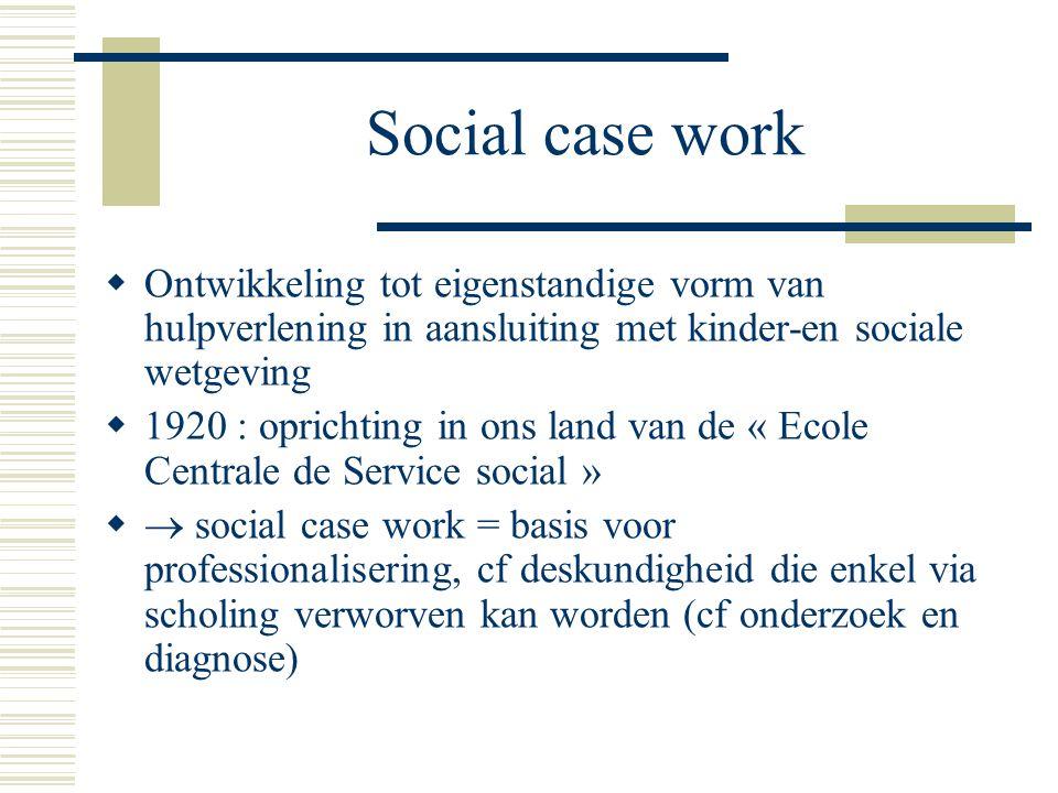 Social case work Ontwikkeling tot eigenstandige vorm van hulpverlening in aansluiting met kinder-en sociale wetgeving.
