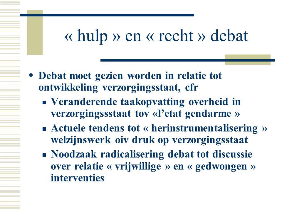 « hulp » en « recht » debat