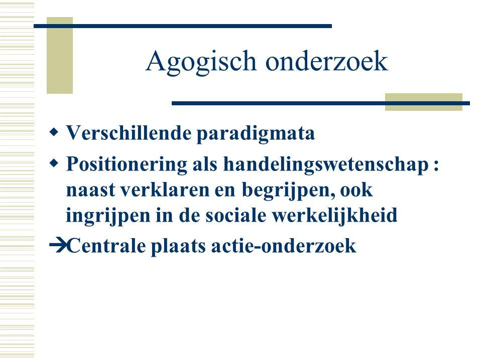 Agogisch onderzoek Verschillende paradigmata