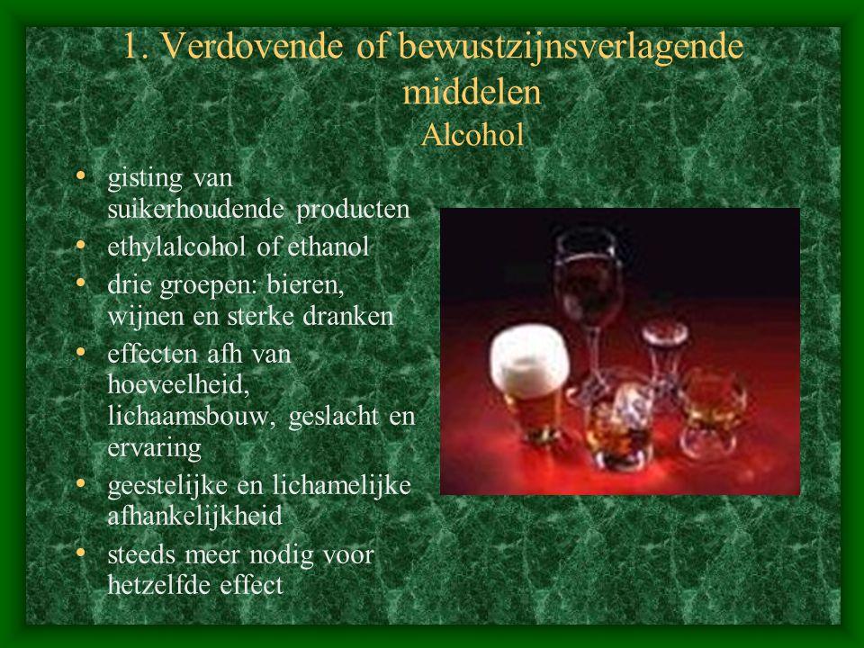 1. Verdovende of bewustzijnsverlagende middelen Alcohol