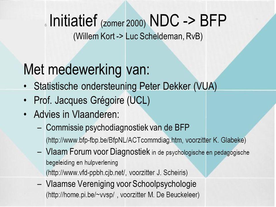 Initiatief (zomer 2000) NDC -> BFP (Willem Kort -> Luc Scheldeman, RvB)