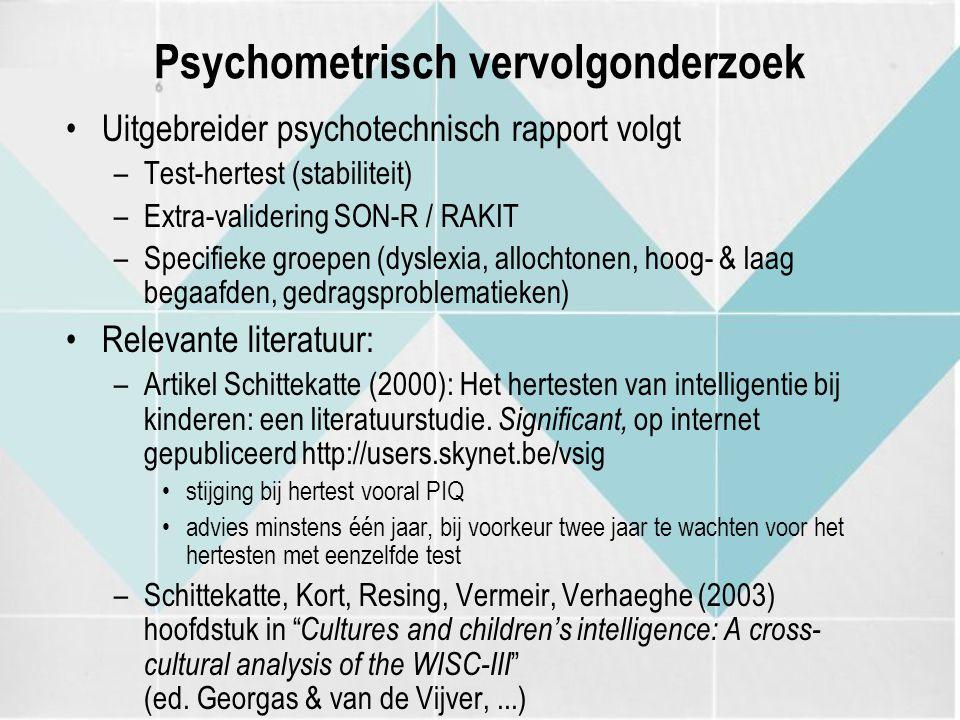 Psychometrisch vervolgonderzoek