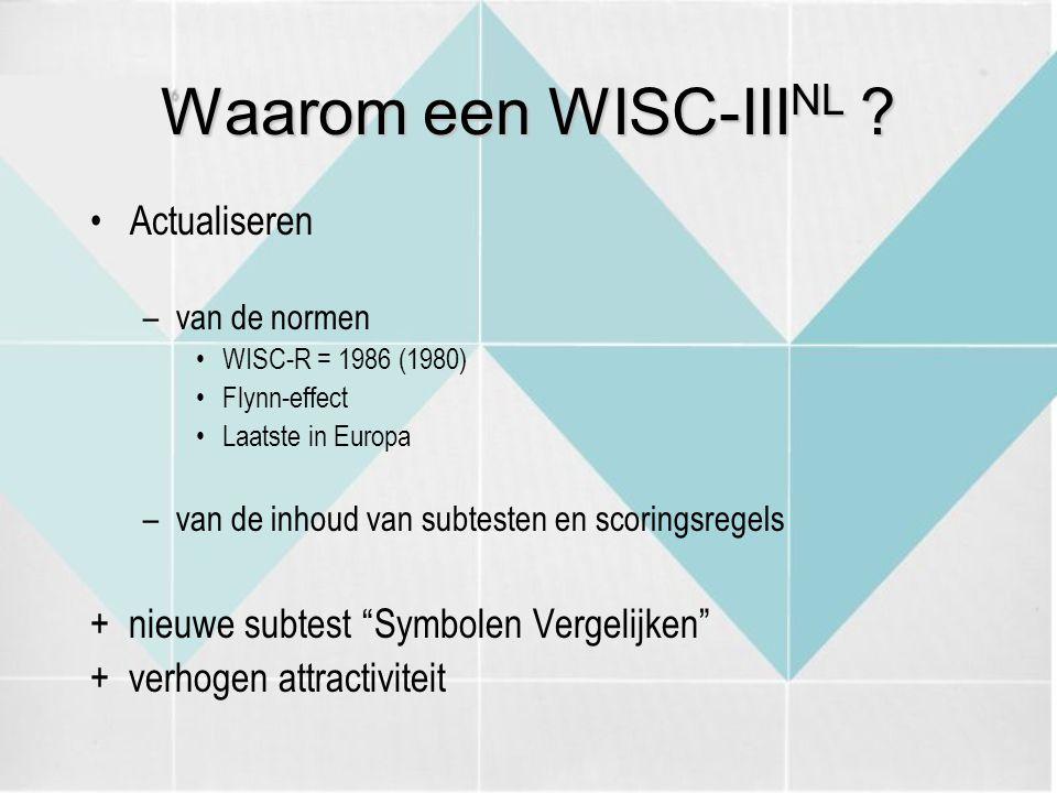 Waarom een WISC-IIINL Actualiseren