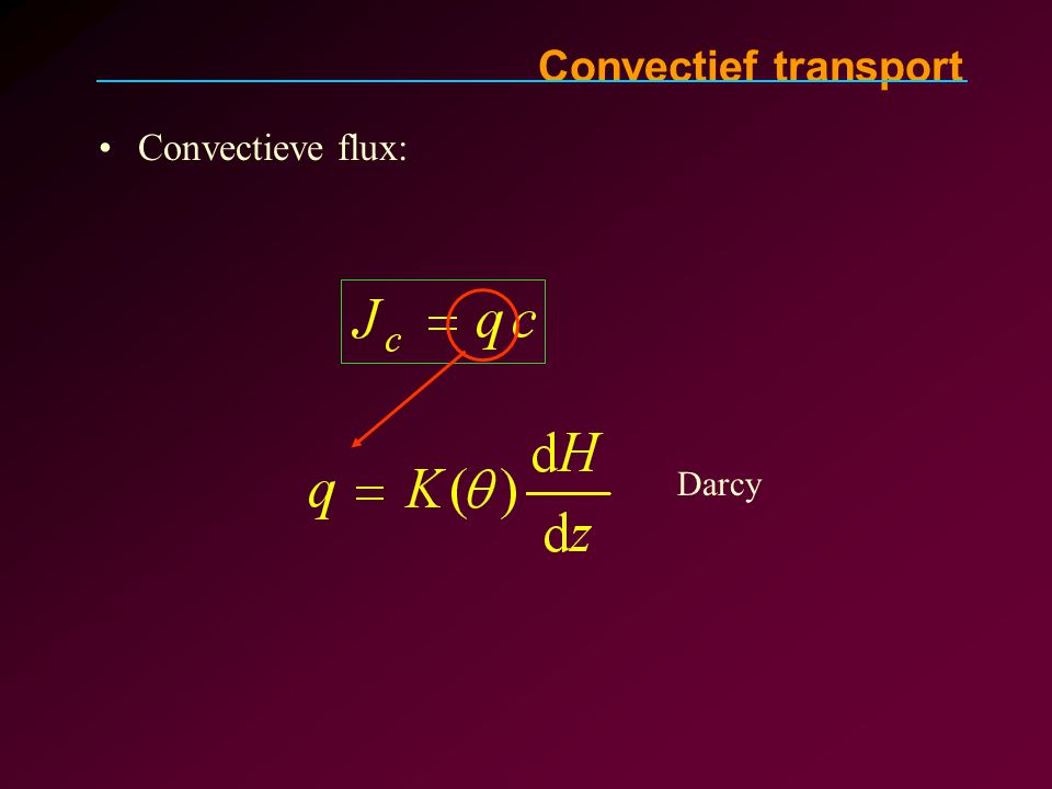 Convectief transport Convectieve flux: Darcy