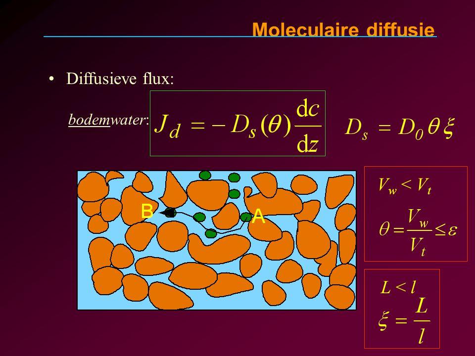 Moleculaire diffusie Diffusieve flux: bodemwater: Vw < Vt L < l