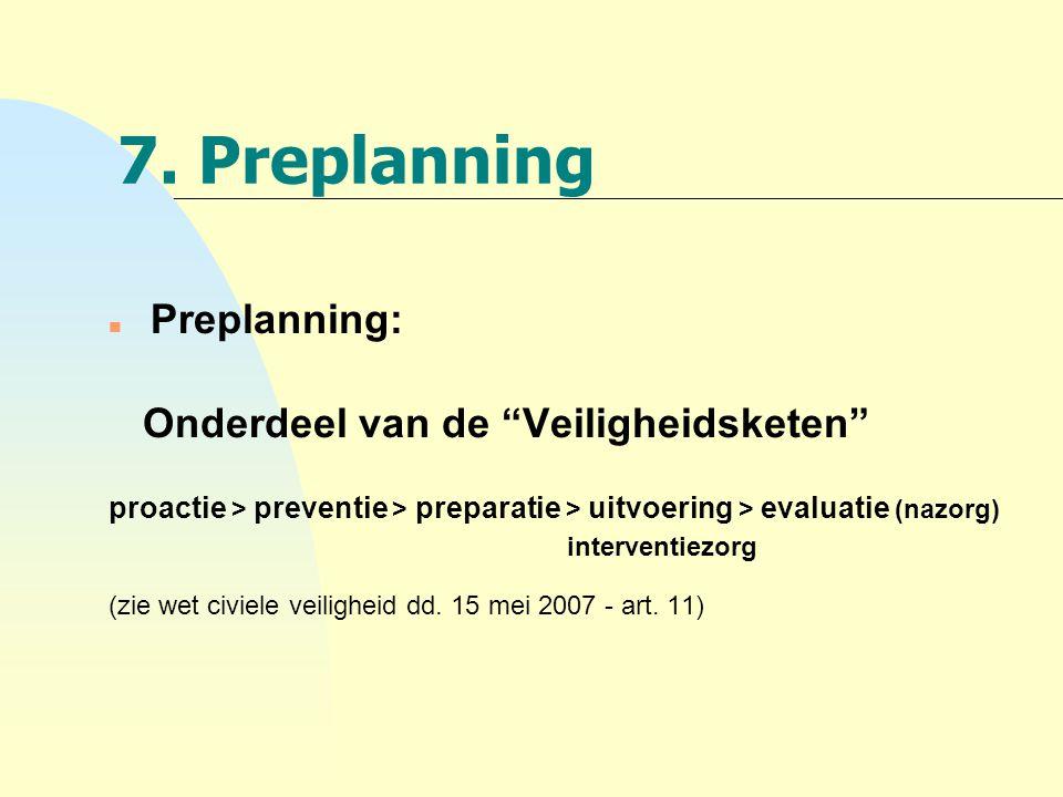 7. Preplanning Onderdeel van de Veiligheidsketen Preplanning: