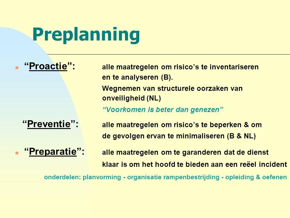 4-4-2017 Preplanning. Proactie : alle maatregelen om risico's te inventariseren en te analyseren (B).
