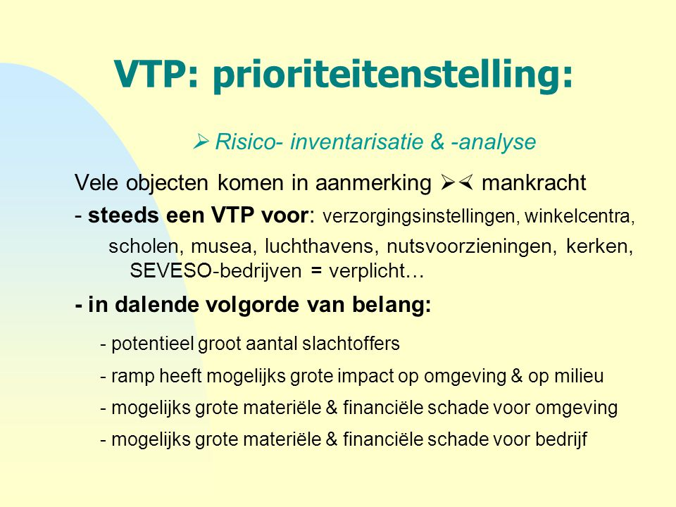 VTP: prioriteitenstelling: