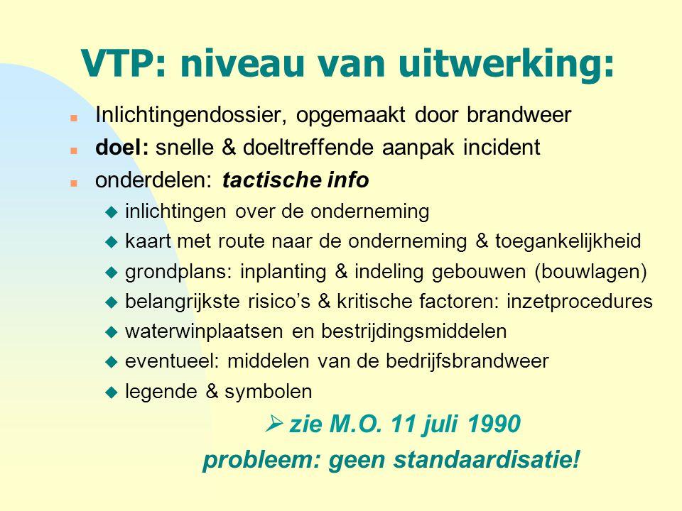VTP: niveau van uitwerking: