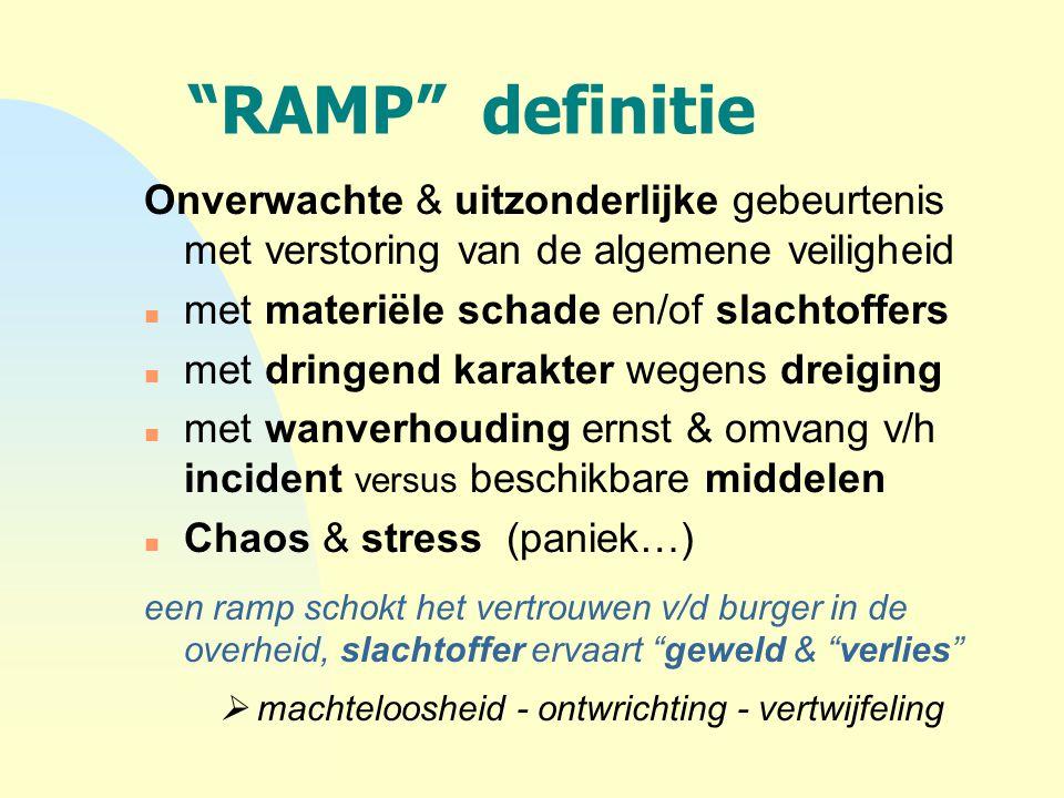 4-4-2017 RAMP definitie. Onverwachte & uitzonderlijke gebeurtenis met verstoring van de algemene veiligheid.