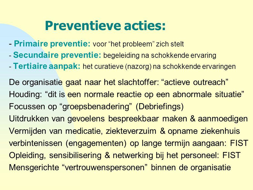 4-4-2017 Preventieve acties: - Primaire preventie: voor het probleem zich stelt. - Secundaire preventie: begeleiding na schokkende ervaring.