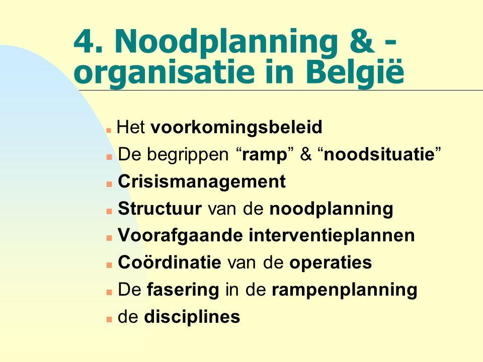 4. Noodplanning & -organisatie in België