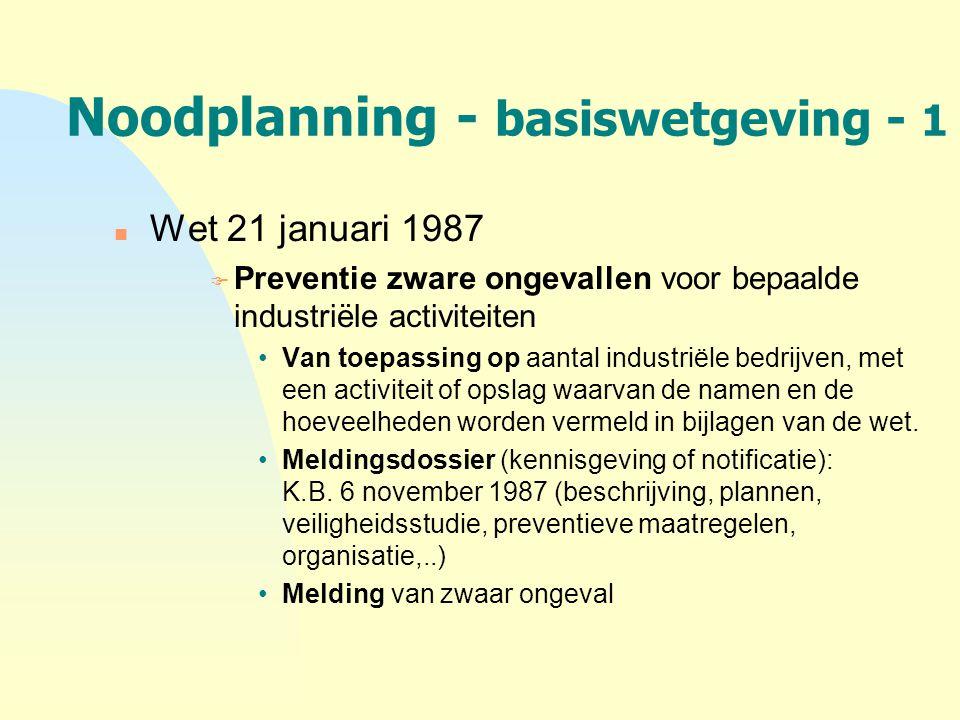 Noodplanning - basiswetgeving - 1