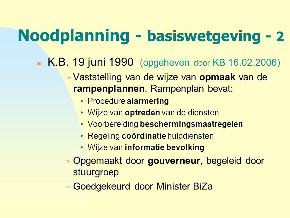Noodplanning - basiswetgeving - 2