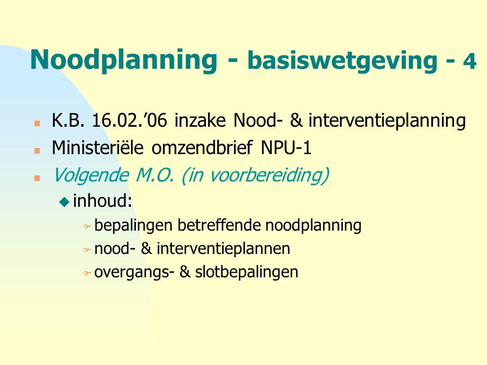 Noodplanning - basiswetgeving - 4