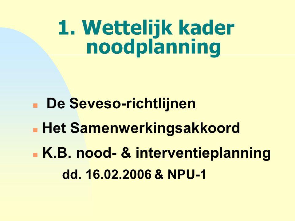 1. Wettelijk kader noodplanning